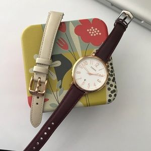 Modern Jacqueline Fossil watch w/ extra band